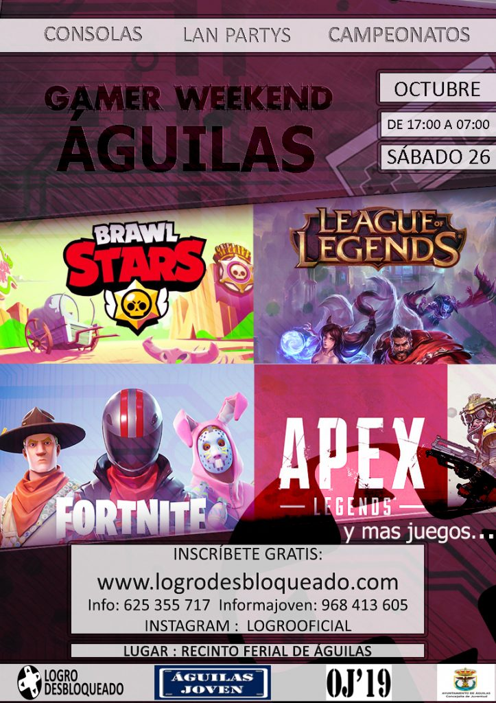 GAMER WEEKEND CAMPEONATOS, VIDEOCONSOLAS,PC´S, CHARLAS, REGALOS